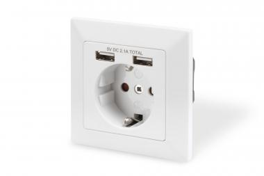 Safety socket for flush mounting with 2 USB ports