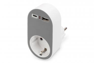 Universal USB-C™ Plug-in Charger with USB-A and Integrated Socket