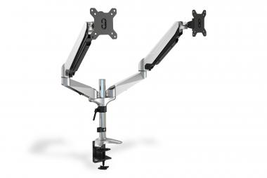 Universal Dual Desktop Monitor Mount with gas spring and clamp mount