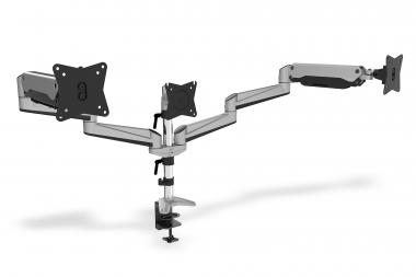Universal Triple Monitor Table Mount with Gas Spring and clamp mount