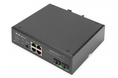Industrial 4-port Gigabit PoE+ switch with 2x SFP uplink ports