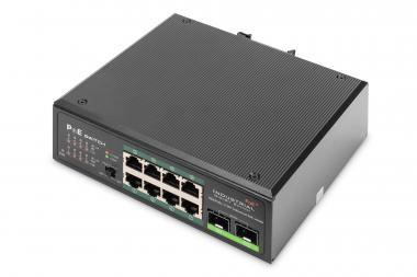 Industrial 8-port Gigabit PoE+ switch with 2x SFP uplink ports