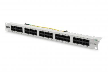CAT 3 ISDN patch panel, unshielded, grey