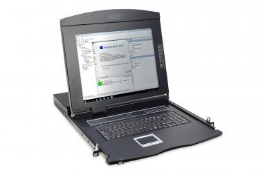"""Modular console with 17"""" TFT (43,2cm), 16-port KVM & Touchpad, swiss keyboard"""