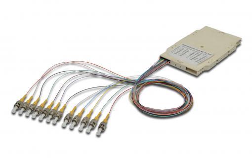 Cassette d'épissure avec 12 raccords flexibles, pré-montée, ST, OS2