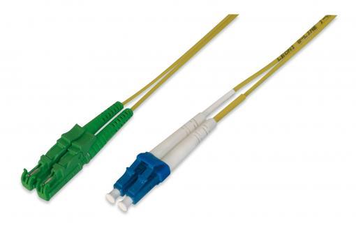 Cable de conexión de fibra óptica, E2000 (8° APC) a LC (UPC), modo único