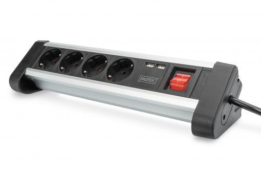 4-way office socket strip with 2x USB ports