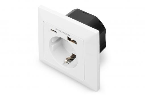 Safety Plug for Flush Mounting with 1 x USB Type-C™, 1 x USB A