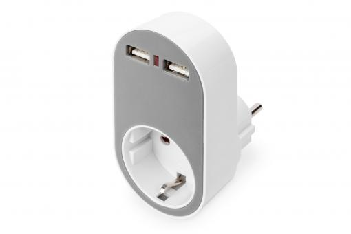 Universal USB Plug-in Charger with 2 x USB-A Sockets and Integrated Socket