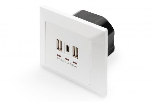 Socket with USB A & USB-C™ Ports, flush mounted