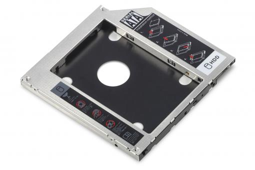 SSD/HDD Installation Frame for CD/DVD/Blu-ray drive slot, SATA to SATA III,  9.5 mm installation height