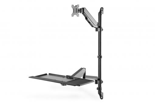 Flexible wall-mounted Stand/Sit workstation, single monitor