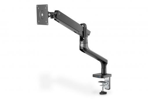 Design-Monitorhalterung mit 2  x USB, Gasdruckfeder und Klemmbefestigung