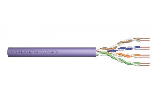 Kabel instalacyjny DIGITUS kat.6, U/UTP, Eca, AWG 24/1, PVC, 305m, fioletowy, karton