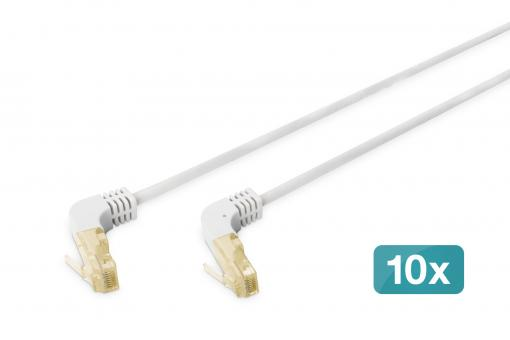 CAT 6A S/FTP patch cord, 90° angled plug, 10 pieces