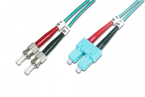 Fiber Optic Multimode Patch Cord, OM 3, ST / SC