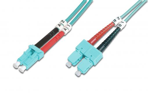 Fiber Optic Multimode Patch Cord, OM 3, LC / SC