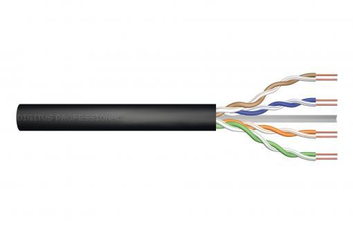 Kabel instalacyjny zewnętrzny żelowany DIGITUS kat.6, U/UTP, Fca, AWG 23/1, PE, 305m, czarny, szpula