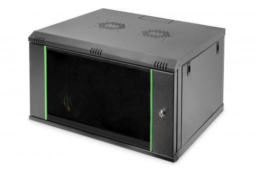 """Szafa sieciowa wisząca DYNAmic 19"""" 7U rack 600x600, drzwi szyba, czarny, niedzielona, złożona, 60kg"""