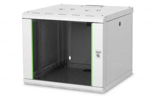 """Szafa sieciowa wisząca Unique 19"""" 9U rack 600x600, drzwi szyba, szary, niedzielona, złożona, 100kg"""