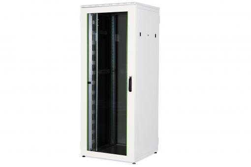 """Szafa sieciowa stojąca varioFLEX 19"""" 42U rack 800x800, drzwi przód szyba, szary, 1200kg"""