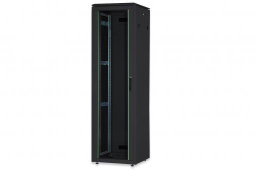 """Szafa sieciowa stojąca Unique 19"""" 47U rack 600x600, drzwi przód szyba, czarny, 800kg"""