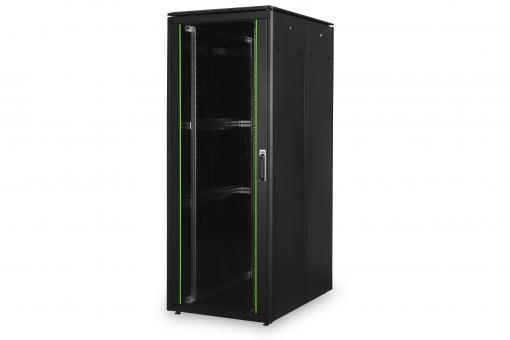 """Szafa sieciowa stojąca Unique 19"""" 47U rack 800x1200, drzwi przód szyba, czarny, 800kg"""