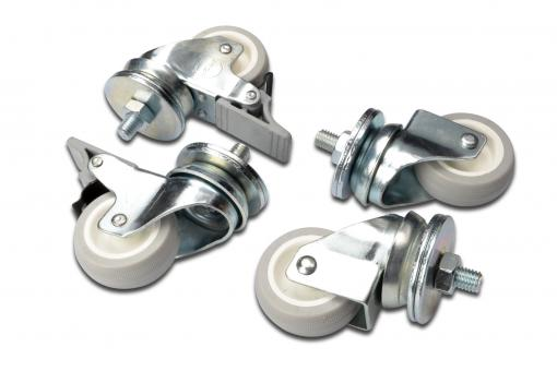 Lockable castors for standard wall mounting cabinets