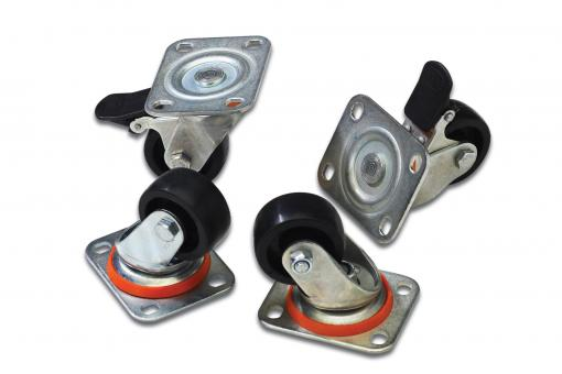 Lockable castors for network- and server cabinets