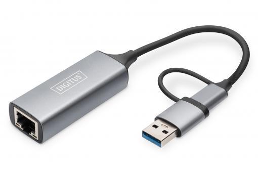 USB Type-C™ Gigabit Ethernet Adapter 2.5G, USB-C™ + USB A (USB3.1/3.0)
