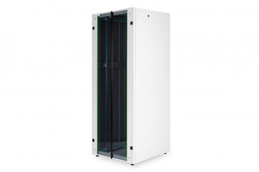 """Szafa sieciowa stojąca Hyper 19"""" 42U rack 800x800, drzwi przód szyba, szary, 600kg"""