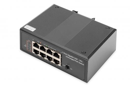 Industrial 7 Port Gigabit PoE Switch, Unmanaged