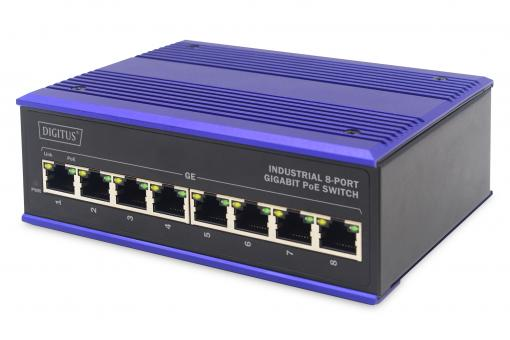 Industrial 8 Port Gigabit PoE Switch, Unmanaged