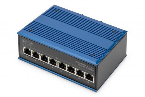 Przemysłowy 8-portowy przełącznik Gigabit zasilany przez kabel Ethernet