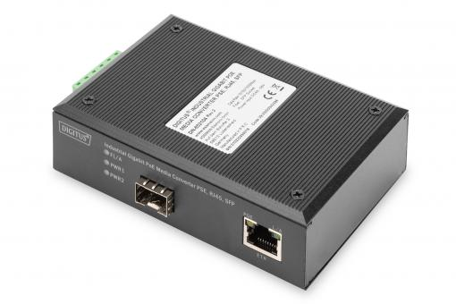 Industrial Gigabit PoE Media Converter PSE, RJ45, SFP