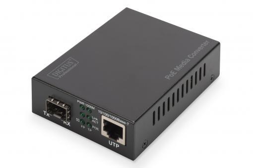 Gigabit PoE Medienkonverter, RJ45 / SFP, PSE