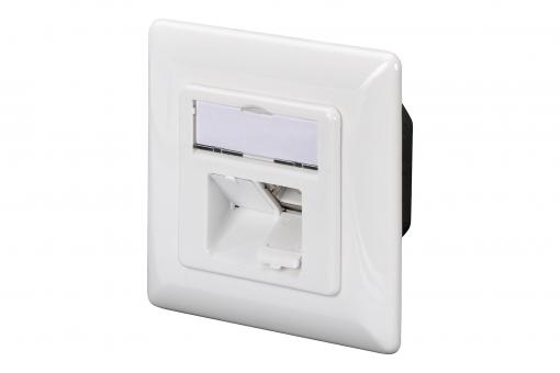 CAT 6A Class EA network outlet, design compatible, shielded, surface mount