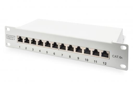 "CAT 6A Patch Panel, shielded, 12-Port, 1HE, 10"", grey"