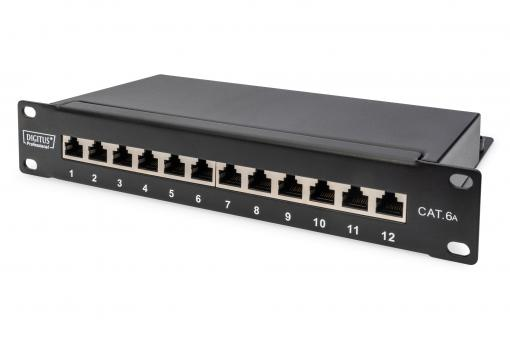 "CAT 6A Patch Panel, shielded, 12-Port, 1HE, 10"", black"