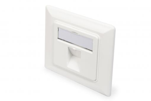 Wallplate for Keystone Modules, German type, middle plate 50x50 mm, frame 80x80 mm
