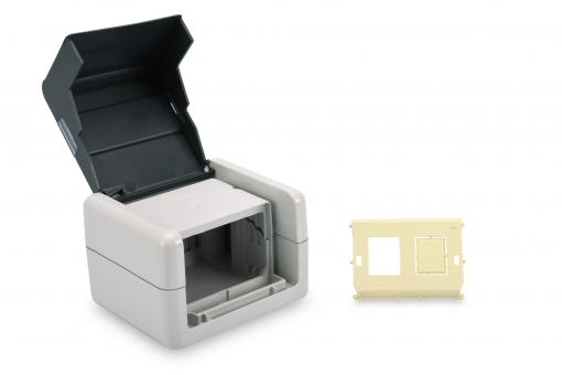 Outdoor Surface Mount Box with Hinged Lid, incl. Inlet for 2 x Keystone Modules, IP44