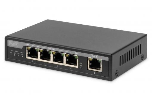 4 Port Gigabit 4PPoE Extender, 802.3at, 60 W