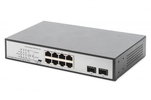 8 Port Gigabit Switch with 6 x PoE Ports, 2 x RJ45, 2 x SFP Uplink, 802.3 af/at/bt