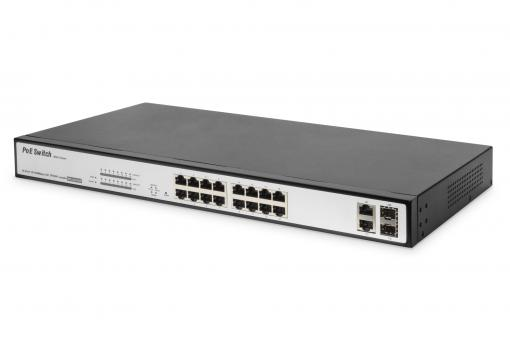 16 Port Fast Ethernet PoE Switch, 19 Inch, Managed, 2 Uplinks