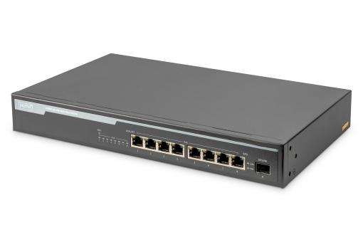 8 Port Gigabit PoE Switch, 19 Inch, Unmanaged, 1 Uplink