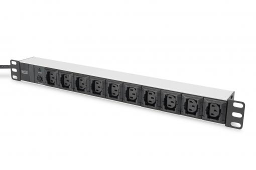 aluminum outlet strip, 10 outlets, 2 m supply IEC C14 plug