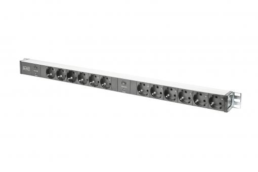 aluminum outlet strip with overload protection, 12 safety outlets, 2 x 2 m supply safety plug