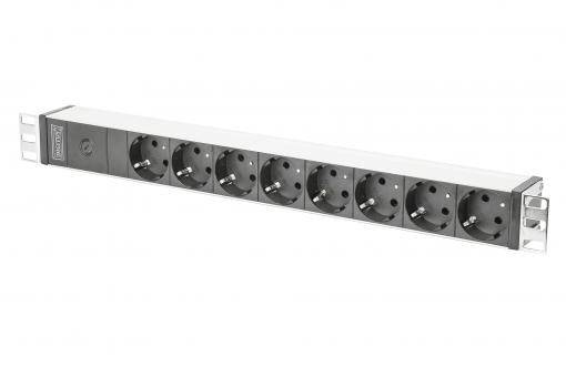 aluminum outlet strip with pre-fuse, 8 safety outlets, 2 m supply IEC C14 plug