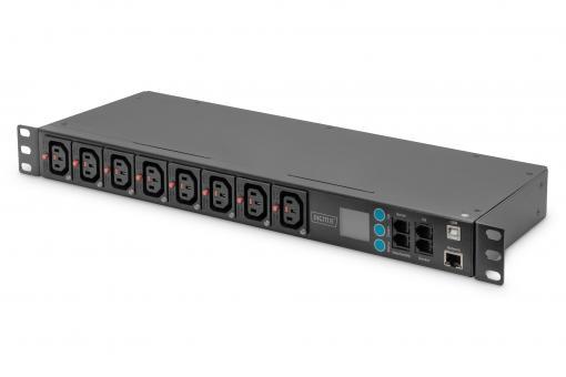Smart PDU, 8 x C13, LCD-Infopanel, WebUI, RJ45, RJ11, Sensor-Option