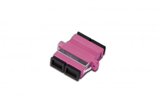 SC / SC Duplex Coupler, OM4,  color pink